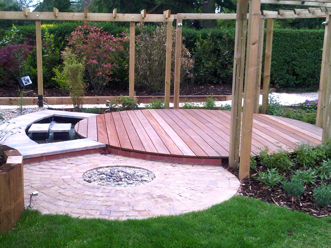 Garden decking ideas timber buildings structures for Garden decking design ideas